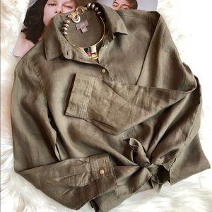 J. Jill Olive Linen Button Down Shirt XS
